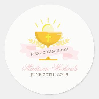 Girls First Holy Communion Classic Round Sticker