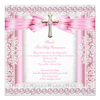 Girls First Holy Communion Cross Pretty Pink 5.25x5.25 Square Paper Invitation Card