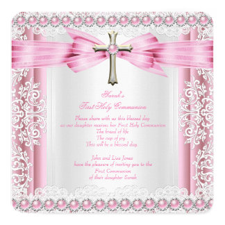 Girls First Holy Communion Cross Pretty Pink White 5.25x5.25 Square Paper Invitation Card