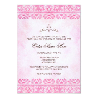 "Girls first holy communion invitation vintage pink 5"" x 7"" invitation card"