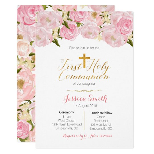 Girl S First Holy Communion Invitations Zazzle Com