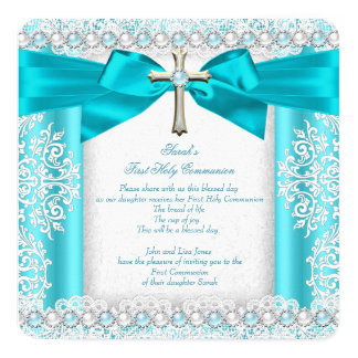 Girls First Holy Communion White Teal Blue Pearl Card