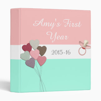 Girl's First Year Baby Album, Hearts and Pacifier Binder