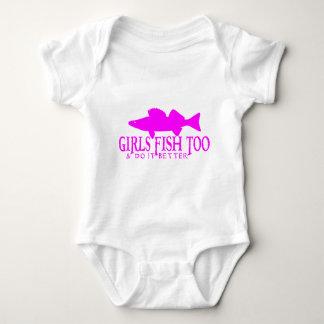 GIRLS FISH TOO WALLEYE BABY BODYSUIT
