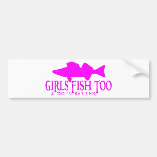 GIRLS FISH TOO WALLEYE BUMPER STICKER