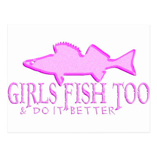 GIRLS FISH TOO WALLEYE POSTCARD
