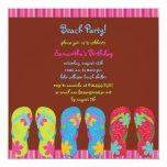 """Girl's Flip Flop Beach Party Photo Invite 5.25"""" Square Invitation Card"""