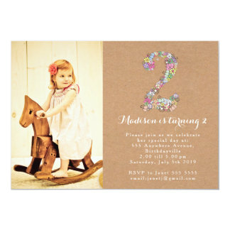 Girls Floral 2nd Birthday Party Invitation
