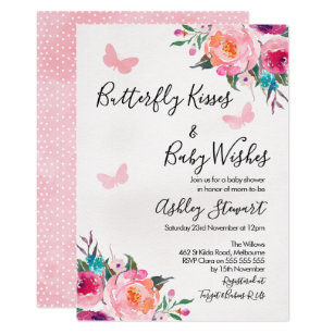 337b0e612 Girls Floral Butterfly Baby Shower Invitation