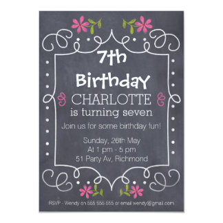 Girl's Floral Chalkboard Birthday Party Invitation