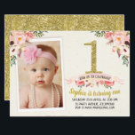 "Girls Floral Faux Gold 1st Birthday Invitation<br><div class=""desc"">This girl&#39;s floral 1st birthday party invitation features a faux gold foil number, a dusty pink ribbon banner, and a few watercolor coral pink floral arrangements. The background is a cream scanned watercolor paper and the back of the invitation is a faux gold texture. Your little girl&#39;s photo appears in...</div>"