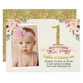 Girls Floral Faux Gold 1st Birthday Invitation