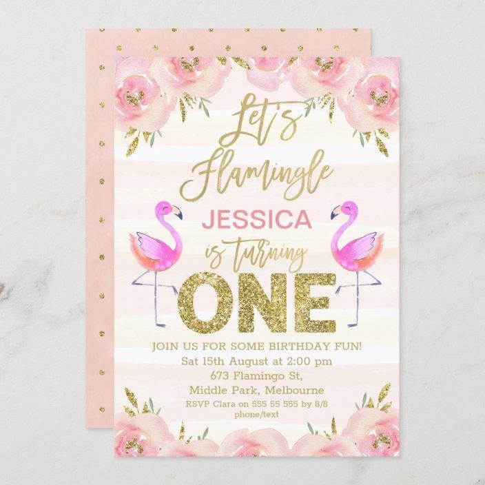 Set of 6 1st Birthday Girl Handmade Flamingo Shaped Invitations