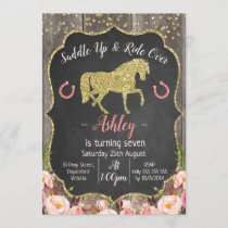 Girls Floral Glitter Horse Birthday Invitation