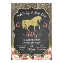 Girls Floral Glitter Horse Birthday Invitation