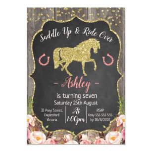 Horse birthday invitations zazzle girls floral glitter horse birthday invitation filmwisefo