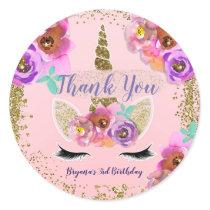 Girls Floral & Gold Glitter Unicorn Birthday Party Classic Round Sticker