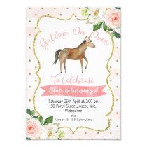 Girls Floral Horse Birthday Invitation