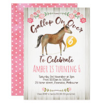 Girls Floral Horse Birthday Party Invitation