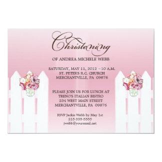 Girl's Floral Mason Jar Christening/Baptism Invita 5x7 Paper Invitation Card