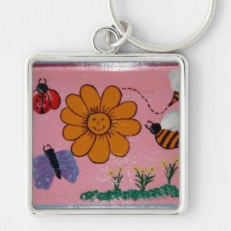 girls flower garden keychain