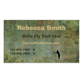 Girls Fly Fish too! Fishing Buddy Template Double-Sided Standard Business Cards (Pack Of 100)