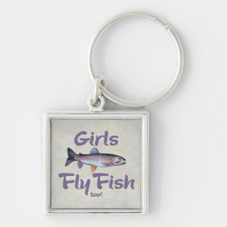 Girls Fly Fish too! Rainbow Trout Fly Fishing Keychain