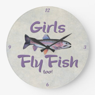 Girls Fly Fish too! Rainbow Trout Fly Fishing Large Clock