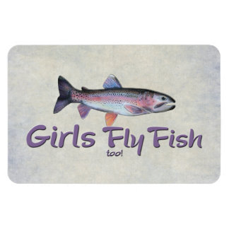 Girls Fly Fish too! Rainbow Trout Fly Fishing Magnet