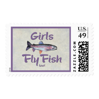 Girls Fly Fish too! Rainbow Trout Fly Fishing Postage