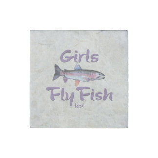Girls Fly Fish too! Rainbow Trout Fly Fishing Stone Magnet