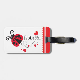 Girls flying heart ladybug red named luggage tag