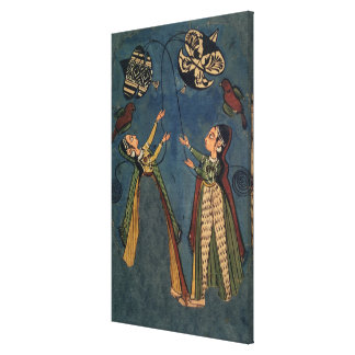 Girls flying kites, Kulu folk painting, Himachal P Canvas Print