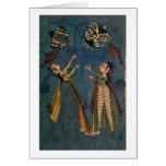 Girls flying kites, Kulu folk painting, Himachal P Greeting Cards