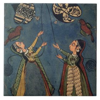 Girls flying kites, Kulu folk painting, Himachal P Ceramic Tile