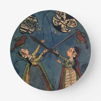 Girls flying kites, Kulu folk painting, Himachal P Round Clock