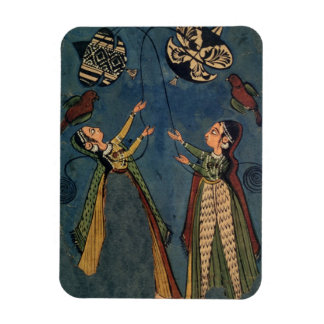 Girls flying kites, Kulu folk painting, Himachal P Magnet