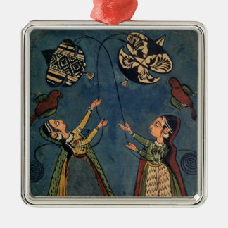 Girls flying kites, Kulu folk painting, Himachal P Metal Ornament
