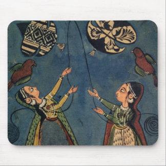 Girls flying kites, Kulu folk painting, Himachal P Mouse Pad