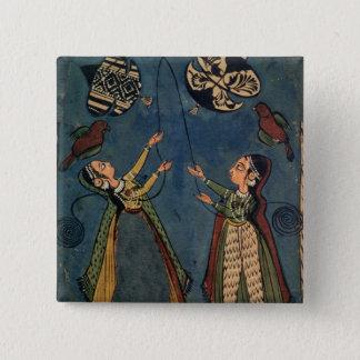 Girls flying kites, Kulu folk painting, Himachal P Pinback Button
