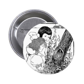 Girls Found A Bird Nest Pinback Button