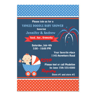 Girls Fourth of July Baby Shower Card