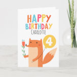 "Girls Fox Birthday Card<br><div class=""desc"">This children's birthday card features a cute fox,  yellow balloon and flowers.  I have also used a font called Cool Britannia for the heading on both the front and back of the card.  This birthday card is best suited for a girl it's ready to be personalized.</div>"