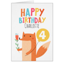 Girls Fox Birthday Card