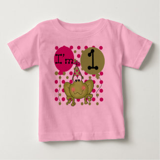 Girls Frog First Birthday Baby T-Shirt