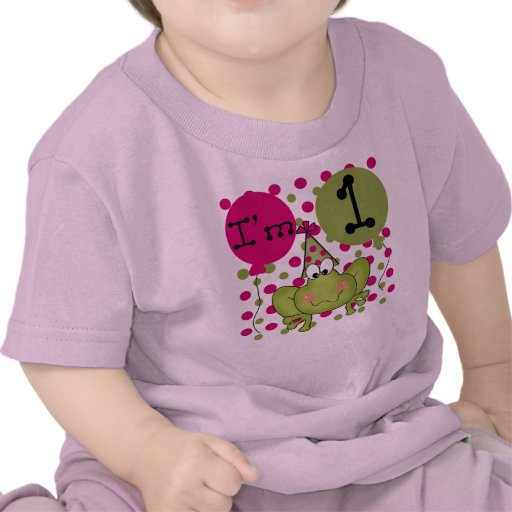 Girls Frog First Birthday Tee Shirt