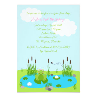 Girls Froggie Pond 5x7 Invitation