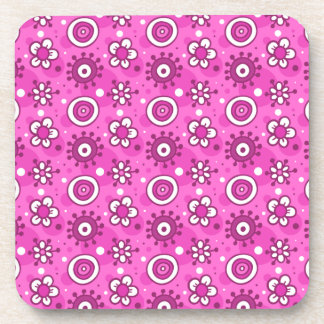 Girl's Fun Cute Pink Flowers & Shapes Pattern Coaster