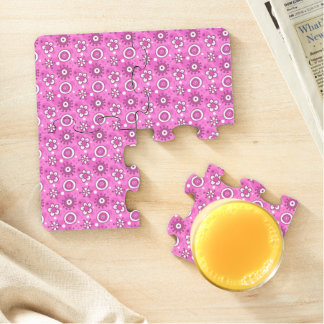 Girl's Fun Cute Pink Flowers & Shapes Pattern Puzzle Coaster
