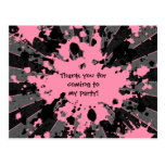 Girls funky pink paint splatter paintball birthday post cards